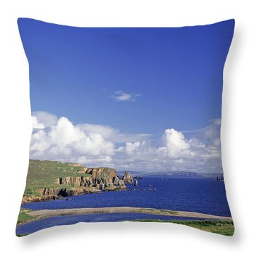 Scotland Shetland Islands Eshaness Cliffs Throw Pillow by Anonymous
