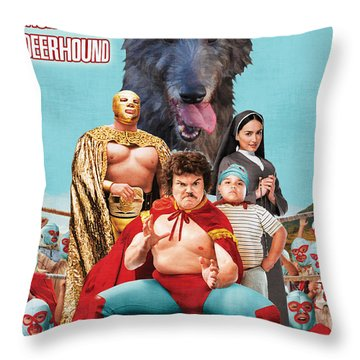Scottish Deerhound Art - Nacho Libre Movie Poster Throw Pillow by Sandra Sij