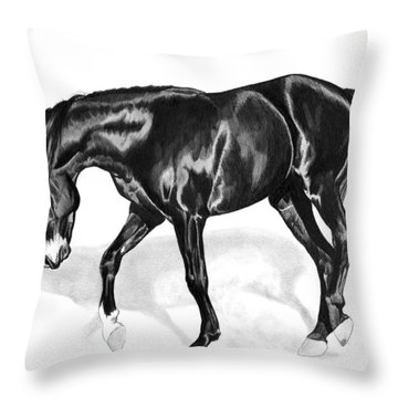 Scottish Gold - Registered Thoroughbred Throw Pillow by Cheryl Poland