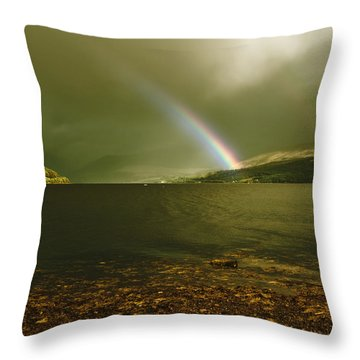 Throw Pillow featuring the photograph Scottish Rainbow On Loch Fyne by Jane McIlroy