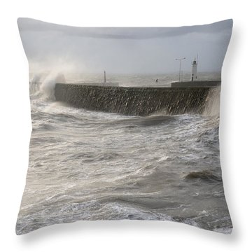 Scottish Sea Storm Throw Pillow by Jeremy Voisey