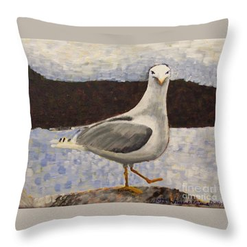 Scottish Seagull Throw Pillow