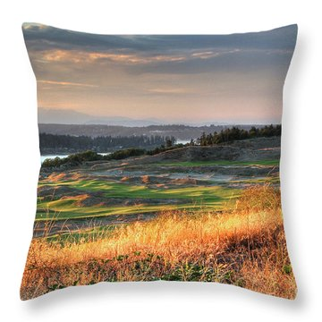Scottish Style Links In September - Chambers Bay Golf Course Throw Pillow
