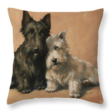 Throw Pillow featuring the painting Scottish Terrier by Christopher Gifford Ambler