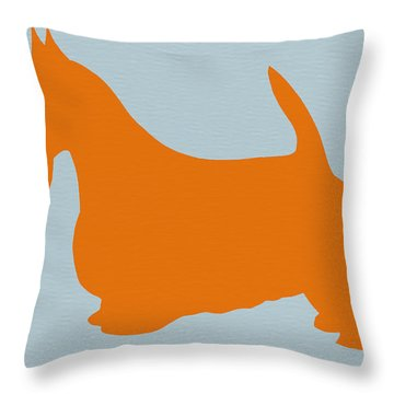Scottish Terrier Orange Throw Pillow
