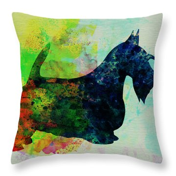 Scottish Terrier Watercolor Throw Pillow by Naxart Studio