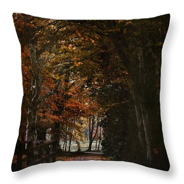 Scottish Woodland Walk Throw Pillow