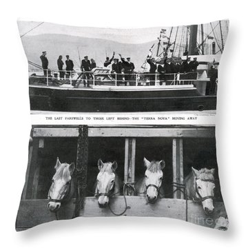 Scotts Departure For Antarctica Ponies Throw Pillow by Mary Evans