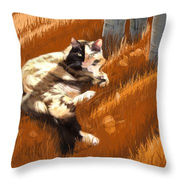 Scout In Autumn Throw Pillow