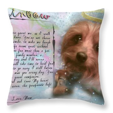 Throw Pillow featuring the digital art Scout In Rainbow Bridge by Kathy Tarochione