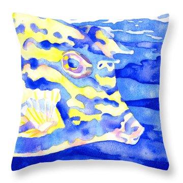 Scrawled Cowfish Portrait Throw Pillow