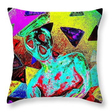 Throw Pillow featuring the painting Scream Abstract Art by Annie Zeno