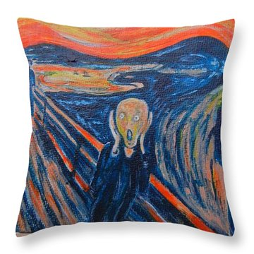 Throw Pillow featuring the painting Scream by Diana Bursztein