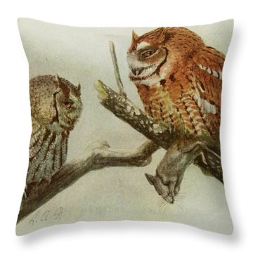 Screech Owls Throw Pillow by Anton Oreshkin