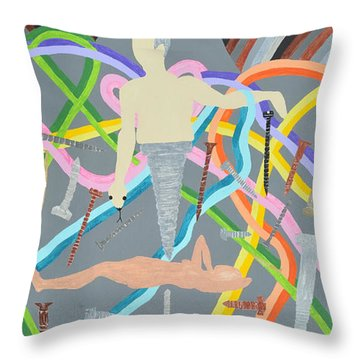 Throw Pillow featuring the painting Screwed by Erika Chamberlin