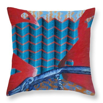 Throw Pillow featuring the painting Screwy World by Thomasina Durkay