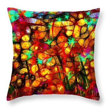 Scribble Flowers Throw Pillow