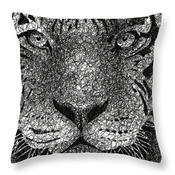 Scribble Tiger Throw Pillow by Nathan Shegrud