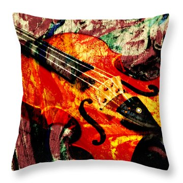 Throw Pillow featuring the mixed media Scribbled Fiddle by Ally  White