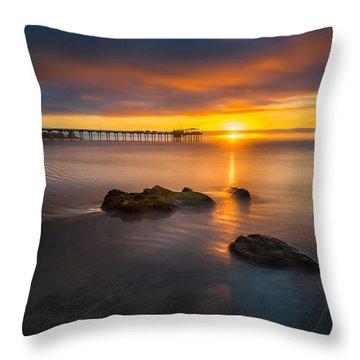 Scripps Pier Sunset 2 Throw Pillow