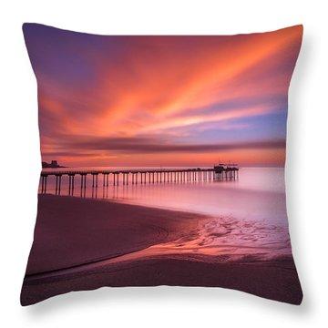 Scripps Pier Sunset Throw Pillow