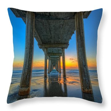 Scripps Pier Sunset Throw Pillow