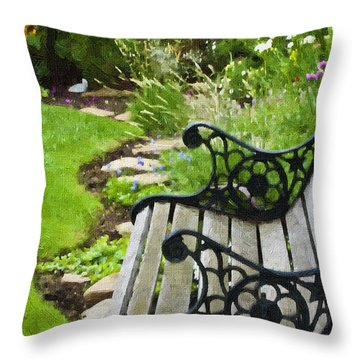 Scroll Bench Garden Scene Digital Artwork Throw Pillow