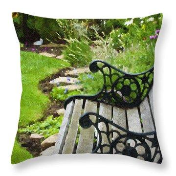 Scroll Bench Garden Scene Digital Artwork Throw Pillow