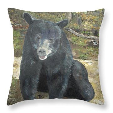 Throw Pillow featuring the painting Scruffy Again by Jan Dappen
