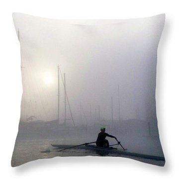 Sculling In The Fog Throw Pillow