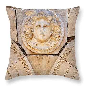 Sculpted Medusa Head At The Forum Of Severus At Leptis Magna In Libya Throw Pillow