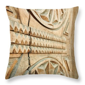 Sculpted Wooden Door Throw Pillow