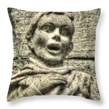 Throw Pillow featuring the pyrography Sculpture Why by Yury Bashkin