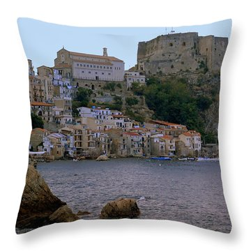 Scylla And The Shore Throw Pillow by Caroline Stella