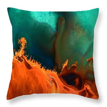 Sea Anemone - Contemporary Abstract Fluid Art By Kredart Throw Pillow