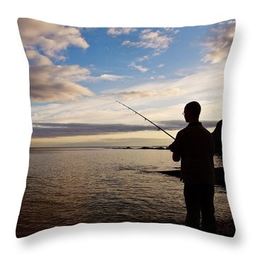 Sea Angling At Stage Cove Throw Pillow