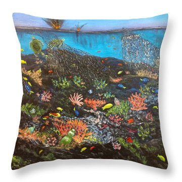 Throw Pillow featuring the painting Sea Assault by Karen Zuk Rosenblatt