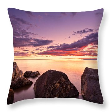 Sea At Sunset The Sky Is In Beautiful Dramatic Color Throw Pillow