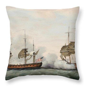 Sea Battle Throw Pillow by Francis Holman