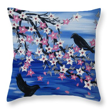 Sea Blossoms Throw Pillow by Cathy Jacobs