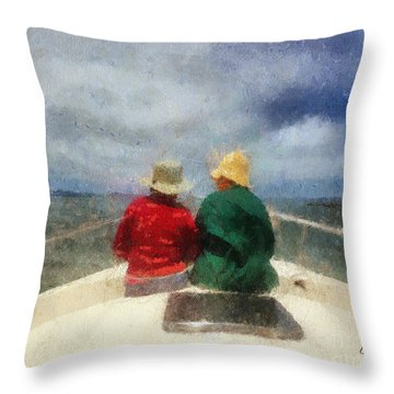 Sea Breeze 4 On The Bay Throw Pillow by Linda Weinstock