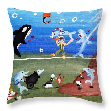 Throw Pillow featuring the painting Sea Circus by Artists With Autism Inc