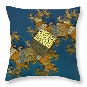 Throw Pillow featuring the digital art Sea Dragon Fractal by Manny Lorenzo