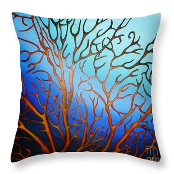 Throw Pillow featuring the painting Sea Fan In Backlight by Paula L