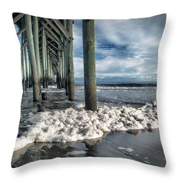 Sea Foam And Pier Throw Pillow