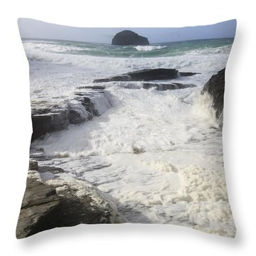Sea Foam At Trebarwith Strand Throw Pillow