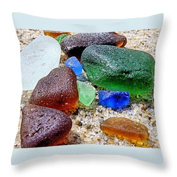 Throw Pillow featuring the photograph Sea Glass Collection by Janice Drew