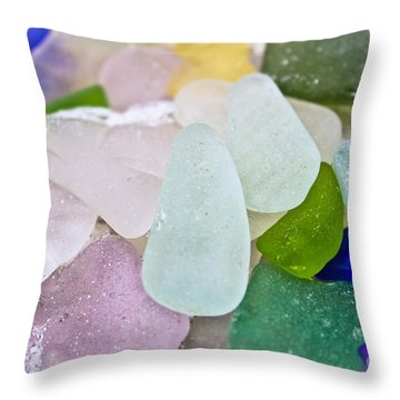 Sea Glass Throw Pillow by Colleen Kammerer