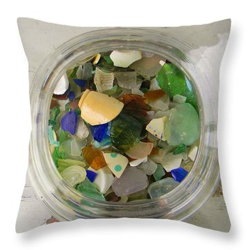 Sea Glass In A Jar Throw Pillow by Jean Goodwin Brooks