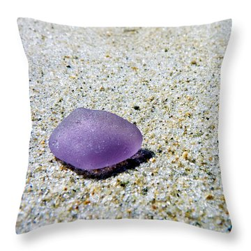 Throw Pillow featuring the photograph Sea Glass In Amethyst by Janice Drew